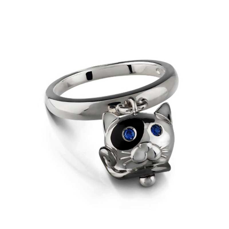 Chantecler Anello campanella gatto in argento, smalto...