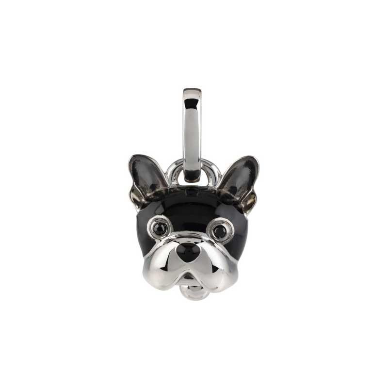 Ciondolo cane piccolo in argento smalto nero e spinello nero