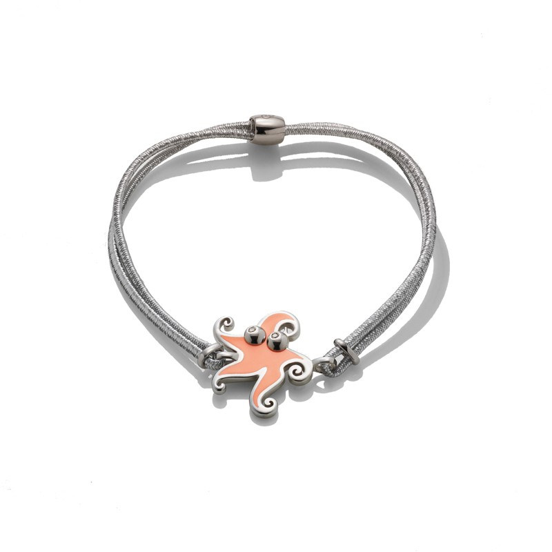 Bracciale piccolo stella marina in argento e smalto salmone occhi con diamante .