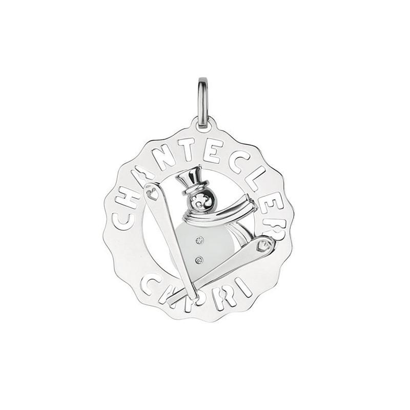 Ciondolo grande Pupazzo di neve in argento 925, diamanti e cristallo di rocca, della collezione Logo di Chantecler.