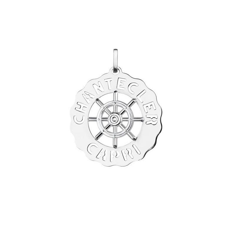 Ciondolo in argento 925 della collezione Logo di Chantecler con timone al centro.