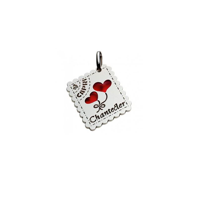 Ciondolo in argento 925 e smalto rosso della collezione Love Letters di Chantecler a forma di francobollo.
