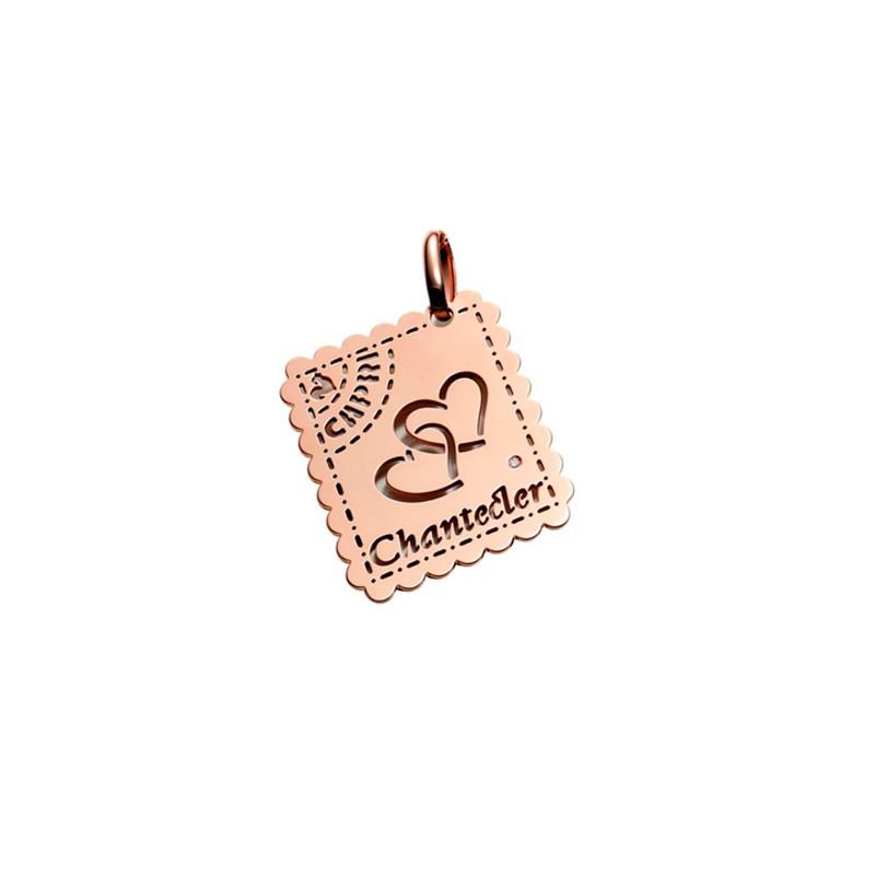 Ciondolo in oro rosa 9 kt e diamante della collezione Love Letters di Chantecler a forma di francobollo.