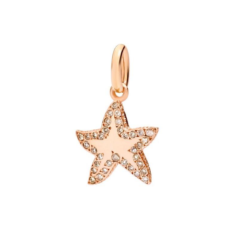 Charm stellina in oro rosa 9 kt con diamanti brown