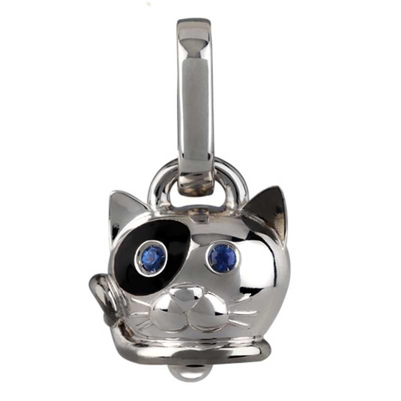 più recente 7dfcb 00cfa Ciondolo gatto piccolo in argento smalto nero e zaffiri blu