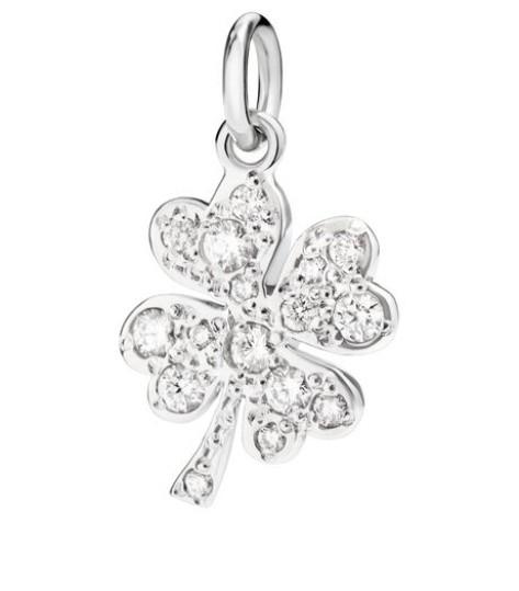 Dodo | Ciondolo Quadrifoglio Grande Oro Bianco e Diamanti