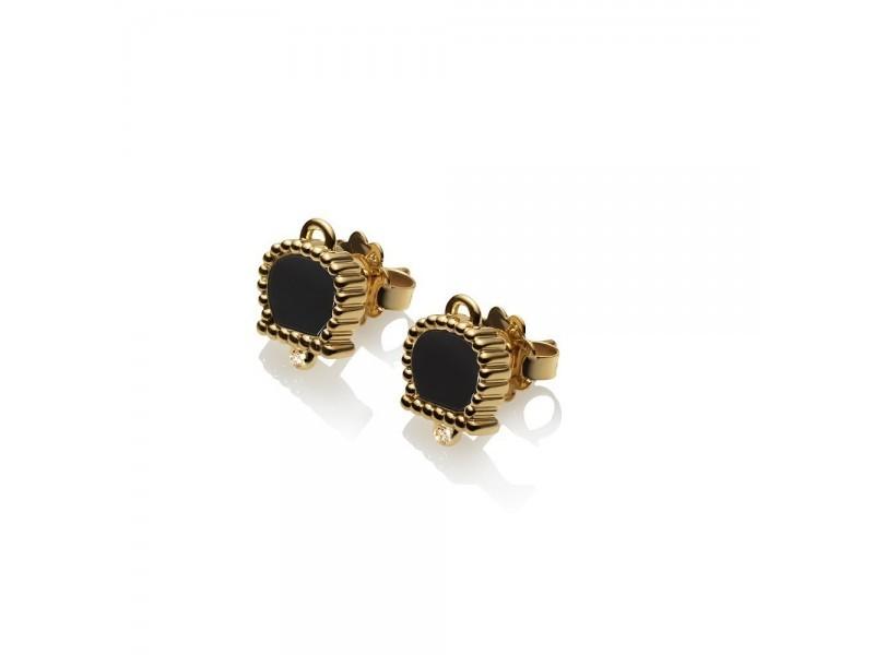 Chantecler | Orecchini Oro Giallo con Onice e Diamanti